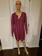 Diane Von Furstenberg Reina L/S Diamond Ikat Jazzberry Jersey Dress Sz 10--New