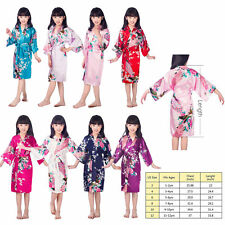 New Kid's Girl Peacock Sleepwear Bride Kimono Bath Robe Satin Night Dress Gown *