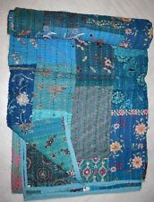 Indian silk vintage patchwork kantha quilt handmade reversible twin bedspreads