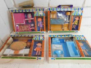 Vintage MOD 1970's Plastic Miniature Dollhouse Furniture NIB 4 sets Flatsy Dolls