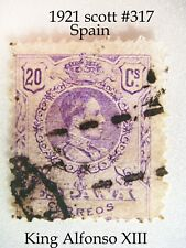 1921 Spain King Alfonso XIII 20 Cent Violet stamp scott # 317
