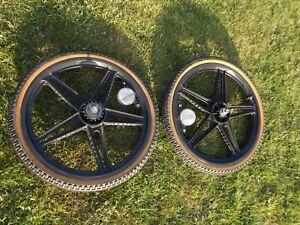 Pair Raleigh Wildcat Vintage  Bmx Era Bernadi wheels  + Original Raleigh Tyres