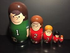 5 piece Wood Nesting dolls, soccer counting dolls, Golden Cockerel, made Russia