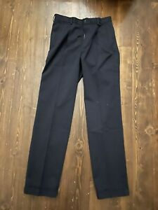 Men's Brook Brothers Blue Cotton Trousers With Turn Up Hems Size 32 Waist 34 Leg