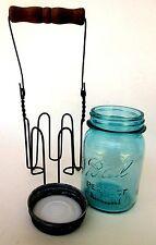 """Ball Mason Jar Pint Metal Wire Holder Zinc Lid """"Perfect Mason"""" 1923 - 1933"""