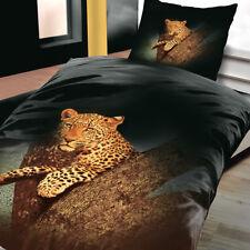 Mikrofaser Bettwäsche 135x200 cm 2 teilig Afrika Leopard Schwarz