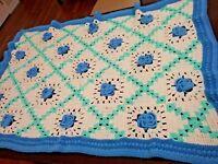 Vintage 3D Flowers Crochet Afghan Granny Square Throw Blanket Handmade