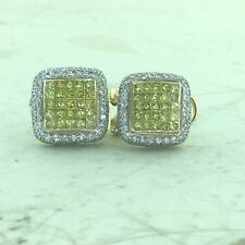 14k Gold Round & Princess Cut White & Canary Diamond Invisible Set Earrings