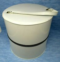 Vintage Hat Wig Box White Vinyl Large Zipper Case 12.5x12.5 Mid Century Mod