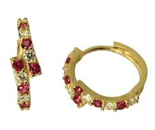 14K Real Yellow Gold 4mm Thick Round Red Polished Hoop Huggies Earrings