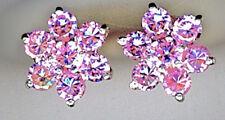 "925 Sterling Silver Pale Pink Cubic Zirconia Cluster Stud Earrings 10mm 3/8"" dia"