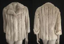 Delicious Snowtop Blonde Beige MINK FUR Suede COAT Jacket ~ Small petite size
