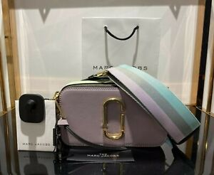 MARC JACOBS Snapshot DUSTY LILAC logo strap Small Camera Bag 100% AUTHENTIC