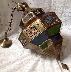 Antique Large Brass & Coloured Glass Moorish Moroccan Lantern, Electric Modified