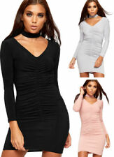 Patternless Long Sleeve Dresses for Women with Ruched