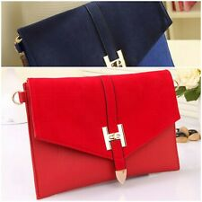 Ladies Velvet Red Blue Envelope Messenger Bag Leather Shoulder Strap Handbag UK