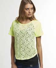 1b38e0dd058302 Womens Superdry HYPER Lace T-shirt Neon Lime S