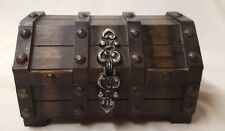 Vintage Wooden Musical Treasure Chest Jewelry Box