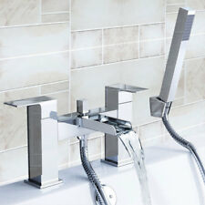 Waterfall Bathroom Handle Held Bath Tub Shower Mixer Taps Faucet Set with 2Hoses