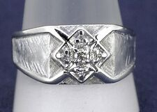 DIAMOND BAND RING Real Solid 10 kw White GOLD 6.4 g Size 12