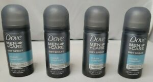4 New Dove Men+Care 48hr dry spray antiperspirant deodorant clean comfort, 1oz