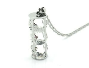 Sweater Bling Encased Crystal Glass Long Women Necklace Pendant Silver Plated