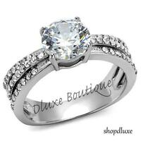 2.50 CT ROUND CUT CZ STAINLESS STEEL ENGAGEMENT RING BAND WOMEN'S SIZE 5-10
