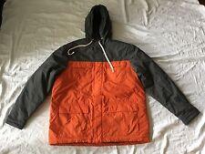 Gap Mens Winter Jacket Size L Large Orange Black Windbreaker Coat w/Hood