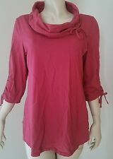 NEON BUDDHA Tie Cowl-Neck Tee Soft Jersey Slub Red 3/4 Sleeve Top Women L 14-16