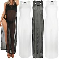 Womens Ladies Mesh Net Fish Net Muscle Back See Through Side Split Maxi Dress