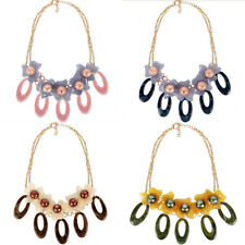 New Style Women Acrylic Double Color Flower Pendant Choker Necklace Jewelry Gift
