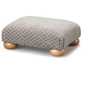 Biagi Upholstery & Design Grey Oval Patterned Low Footstool on Natural Wood Feet