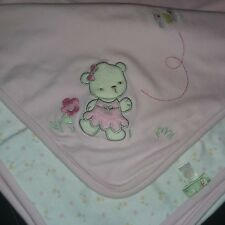 Baby Sprockets Blanket Pink White Bear Dot Bird Butterfly Floral Reversible