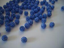 12 unidades pedrería perlas beads perlas Shamballa zafiro 10 mm (1353)