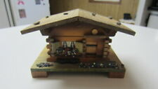 Vintage Wood Swiss Chalet Music Box, Made Switzerland 391-005, Eidelweis
