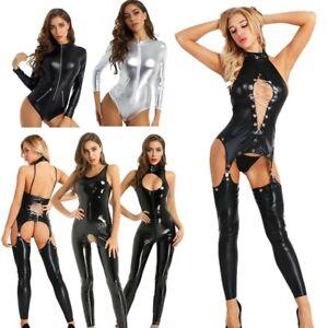 Women Wetlook  Leather Bodysuit Clubwear Costume Jumpsuit Catsuit Crotchless