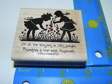 Stampin Up Rubber Stamp Silhouette Girls Picking Flowers (READ description