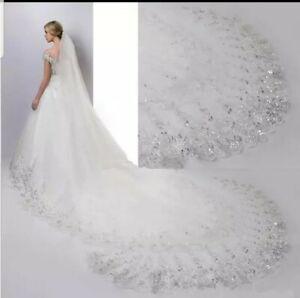 UK 3 Metres White Ivory 1 Tier Long Sequins Lace Edge Bridal Wedding Veil + Comb