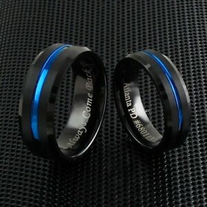 Engraved 6/8mm Black Tungsten Brushed Thin Blue Line Wedding Band Ring