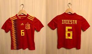5+/5 Kids Spain #6 Iniesta 2017/2019 Home XS Adidas shirt jersey football soccer