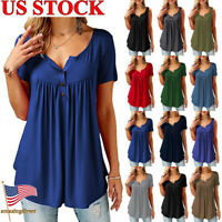 Women's Casual V Neck Short Sleeve Blouse Loose Tops Office Ladies Work Shirt