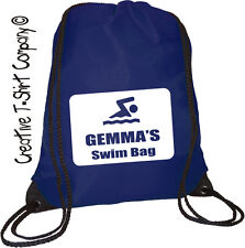 "PERSONALISED NAVY BLUE ""JUST ADD REQUIRED NAME"" SWIMMING DRAWSTRING SCHOOL BAG."
