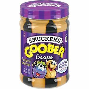NEW SMUCKERS GOOBER GRAPE PEANUT BUTTER & JELLY STRIPES 18 OZ (510g) 1 GLASS JAR