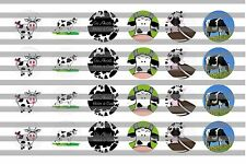 (24) Cows Bottle Cap Image Pre-Cut 19mm