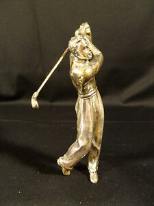 FANTASTIC VINTAGE SOLID CAST IRON CHROME OR SILVER PLATED GOLFER FIGURINE C 1930