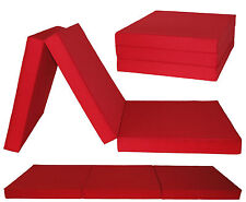 3 Section Red Fold out Chair Bed Guest Stool Mattress Futon Z Bed Chairbed Gilda