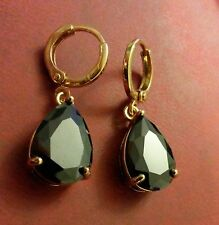 P 01 LARGE black pear drop sapphires 18k gold gf hoop+dangle earrings BOXED Plum