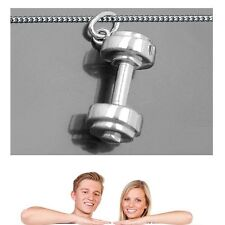 Hantel Gewicht Kraft Sport Anhänger Echt Silber 925 mit Kette Länge wählbar