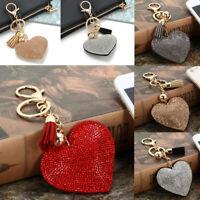 Red Heart Crystal Rhinestone Handbag Keychain Pendant  Bag Keyring Key Chain TR