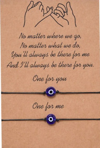 2PCS Evil Eye Friendship Lover Couple Charm Card Wish You Me Promise Bracelet U